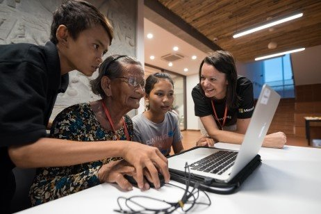 Microsoft supports digital literacy for elderly Cambodians
